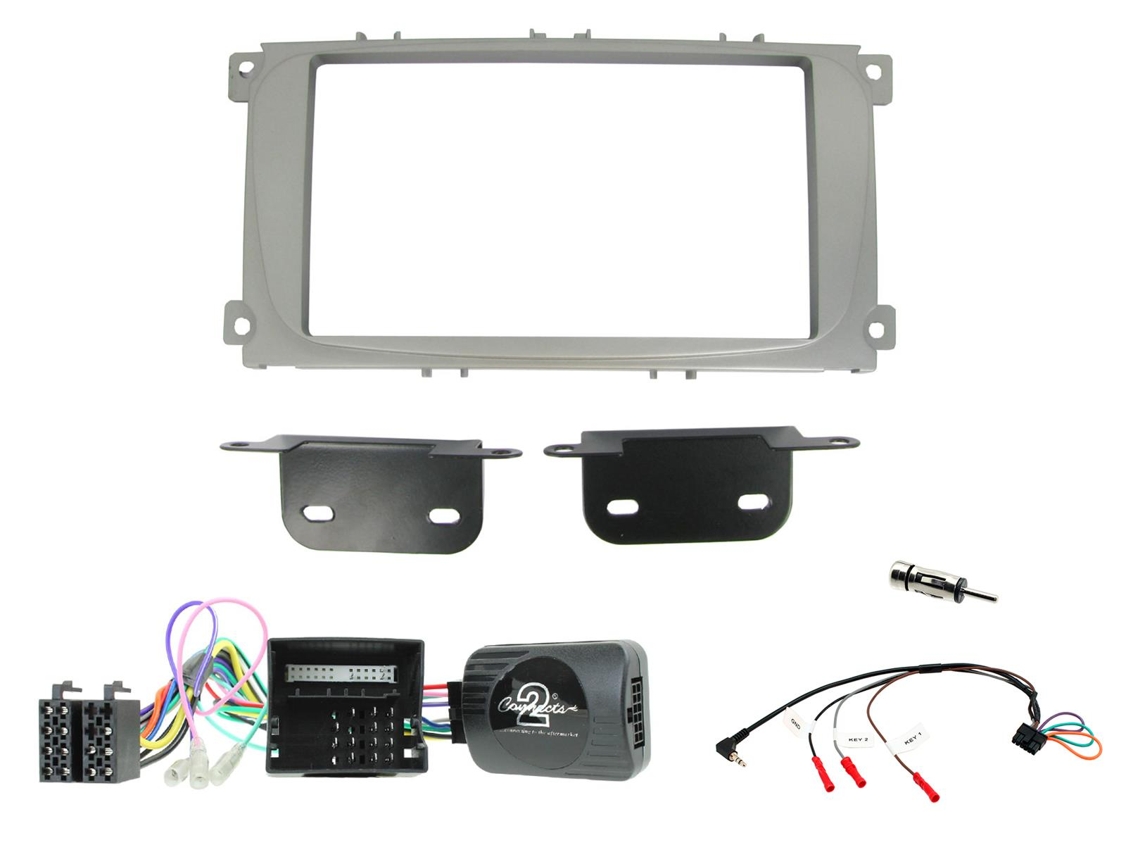 Ford Mondeo 2007-2014 Double Din Fascia Silver CT23FD08 for